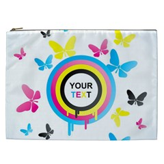Colorful Butterfly Rainbow Circle Animals Fly Pink Yellow Black Blue Text Cosmetic Bag (xxl)  by Alisyart