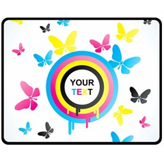 Colorful Butterfly Rainbow Circle Animals Fly Pink Yellow Black Blue Text Double Sided Fleece Blanket (medium)  by Alisyart