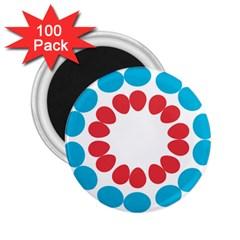 Egg Circles Blue Red White 2 25  Magnets (100 Pack)