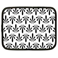 Floral Black White Netbook Case (xxl)  by Alisyart