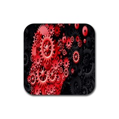 Gold Wheels Red Black Rubber Square Coaster (4 Pack)  by Alisyart