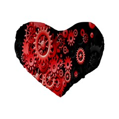Gold Wheels Red Black Standard 16  Premium Heart Shape Cushions by Alisyart