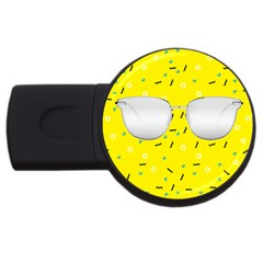 Glasses Yellow USB Flash Drive Round (4 GB) by Alisyart