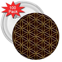 Flower Of Life 3  Buttons (100 Pack)  by Onesevenart
