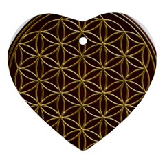 Flower Of Life Heart Ornament (two Sides) by Onesevenart