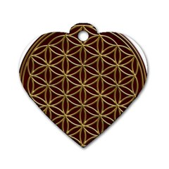 Flower Of Life Dog Tag Heart (two Sides) by Onesevenart