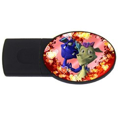 Ove Hearts Cute Valentine Dragon Usb Flash Drive Oval (4 Gb) by Onesevenart
