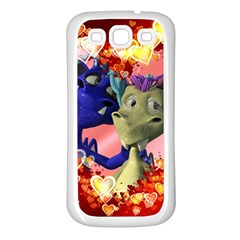 Ove Hearts Cute Valentine Dragon Samsung Galaxy S3 Back Case (white) by Onesevenart