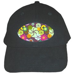 Floral Seamless Rose Sunflower Circle Red Pink Purple Yellow Black Cap by Alisyart