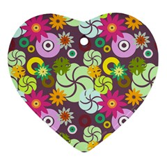 Floral Seamless Rose Sunflower Circle Red Pink Purple Yellow Ornament (heart) by Alisyart