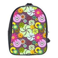 Floral Seamless Rose Sunflower Circle Red Pink Purple Yellow School Bags (xl)  by Alisyart