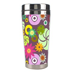 Floral Seamless Rose Sunflower Circle Red Pink Purple Yellow Stainless Steel Travel Tumblers by Alisyart