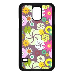 Floral Seamless Rose Sunflower Circle Red Pink Purple Yellow Samsung Galaxy S5 Case (black) by Alisyart