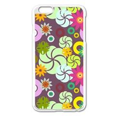 Floral Seamless Rose Sunflower Circle Red Pink Purple Yellow Apple Iphone 6 Plus/6s Plus Enamel White Case by Alisyart
