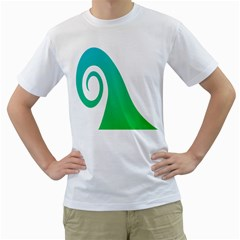 Line Green Wave Men s T Shirt (white) (two Sided)