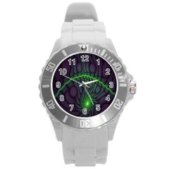 Light Cells Colorful Space Greeen Round Plastic Sport Watch (l) by Alisyart
