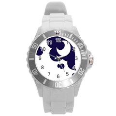 Month Blue Round Plastic Sport Watch (l) by Alisyart