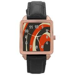 Mixing Gray Orange Circles Rose Gold Leather Watch  by Alisyart