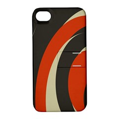 Mixing Gray Orange Circles Apple iPhone 4/4S Hardshell Case with Stand