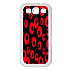 Scatter Shapes Large Circle Black Red Plaid Triangle Samsung Galaxy S3 Back Case (white) by Alisyart