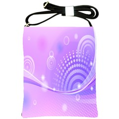 Purple Circle Line Light Shoulder Sling Bags by Alisyart