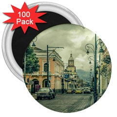 Historic Center Urban Scene At Riobamba City, Ecuador 3  Magnets (100 Pack) by dflcprints