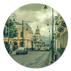 Historic Center Urban Scene At Riobamba City, Ecuador Magnet 5  (round) by dflcprints