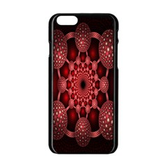 Lines Circles Red Shadow Apple Iphone 6/6s Black Enamel Case by Alisyart