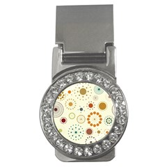 Seamless Floral Flower Orange Red Green Blue Circle Money Clips (cz)  by Alisyart