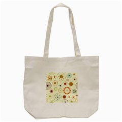 Seamless Floral Flower Orange Red Green Blue Circle Tote Bag (cream) by Alisyart