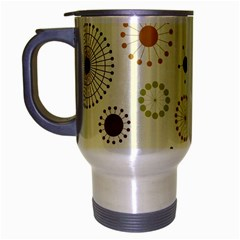 Seamless Floral Flower Orange Red Green Blue Circle Travel Mug (silver Gray) by Alisyart