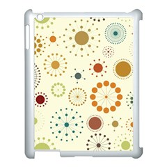 Seamless Floral Flower Orange Red Green Blue Circle Apple Ipad 3/4 Case (white) by Alisyart