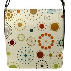 Seamless Floral Flower Orange Red Green Blue Circle Flap Messenger Bag (s) by Alisyart