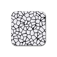 Seamless Cobblestone Texture Specular Opengameart Black White Rubber Square Coaster (4 Pack)  by Alisyart