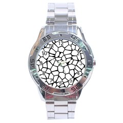 Seamless Cobblestone Texture Specular Opengameart Black White Stainless Steel Analogue Watch by Alisyart