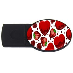 Strawberry Hearts Cocolate Love Valentine Pink Fruit Red Usb Flash Drive Oval (4 Gb) by Alisyart