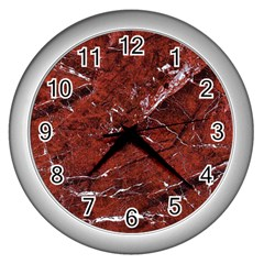 Texture Stone Red Wall Clocks (silver)  by Alisyart