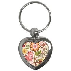 Seamless Texture Flowers Floral Rose Sunflower Leaf Animals Bird Pink Heart Valentine Love Key Chains (heart)  by Alisyart