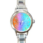 Abstract Color Pattern Textures Colouring Round Italian Charm Watch