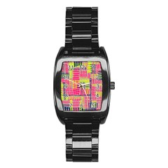 Abstract Pattern Stainless Steel Barrel Watch by Simbadda