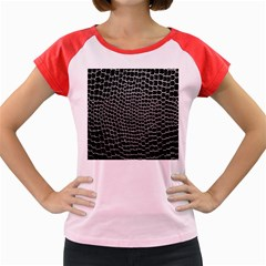 Black White Crocodile Background Women s Cap Sleeve T Shirt by Simbadda