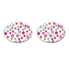 Colorful Floral Flowers Pattern Cufflinks (oval) by Simbadda