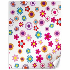 Colorful Floral Flowers Pattern Canvas 18  X 24   by Simbadda