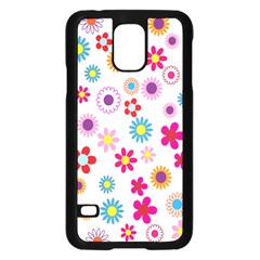 Colorful Floral Flowers Pattern Samsung Galaxy S5 Case (Black) by Simbadda