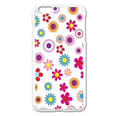 Colorful Floral Flowers Pattern Apple Iphone 6 Plus/6s Plus Enamel White Case by Simbadda