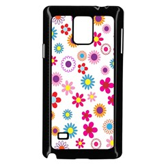 Colorful Floral Flowers Pattern Samsung Galaxy Note 4 Case (black) by Simbadda