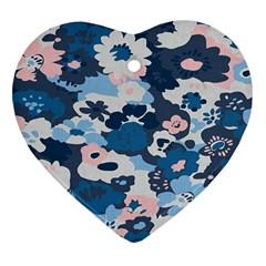 Fabric Wildflower Bluebird Heart Ornament (two Sides) by Simbadda