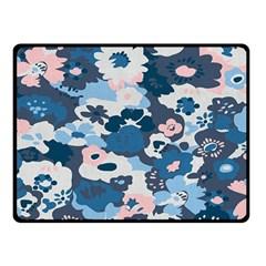 Fabric Wildflower Bluebird Double Sided Fleece Blanket (small)  by Simbadda