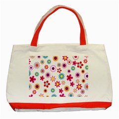 Colorful Floral Flowers Pattern Classic Tote Bag (red) by Simbadda