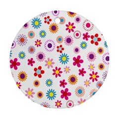Colorful Floral Flowers Pattern Round Ornament (two Sides) by Simbadda